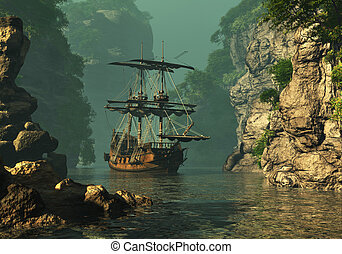 Dropped Anchor 3d CG - a sailing ship of the 16th Century...