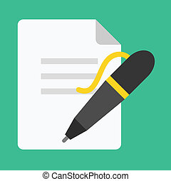 Vector Pen and Document Icon