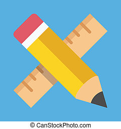 Vector Pencil and Ruler Icon Education or Prototyping...