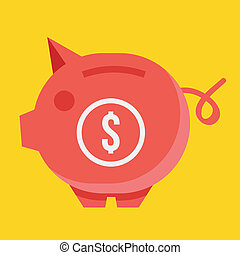 Vector Piggy Bank and Dollar Sign Icon Savings Concept