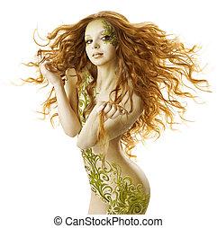 excitado, mulher, fantasia, penteado, sensual, moda,...