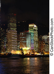 Night scene of business buildings in Hong Kong