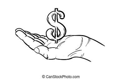 currency - dollar - sketch of american currency in hand -...