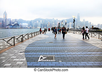 Avenue of Stars - HONG KONG, CHINA - MARCH 29: People...