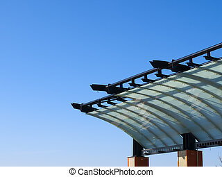 Green Roof On Blue Sky - Roof structure part of the Shumka...