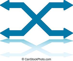 Horizontal Switching Lanes - Two Switching Horizontal Arrows...
