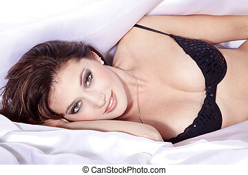 pretty woman in bed