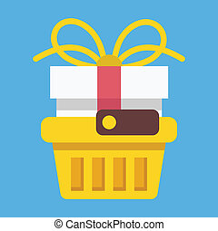Vector Shopping Basket with Gift