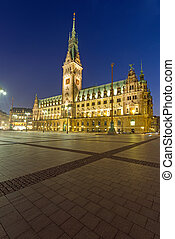 The townhall in Hamburg at night