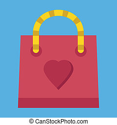 Vector Sweet Red Shopping Bag Icon