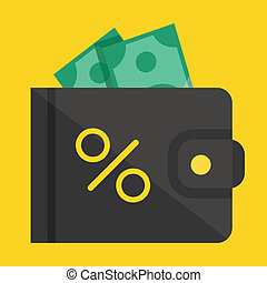 Vector Wallet Dollar Bills and Percent Sign Icon