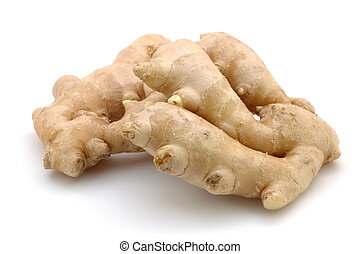 Ginger root - Close up of ginger root in isolated white...
