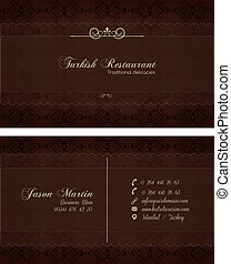 Decorative restaurant business card