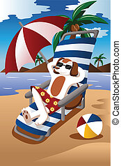 Dog at the beach - A vector illustration of dog wearing...