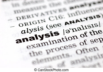 Definition of analysis - A close up of the word analysis...