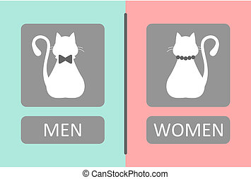Cat Toilet Sign - Toilet Sign with male and female cats.