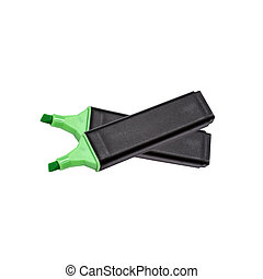 Green highlighter isolated on white background