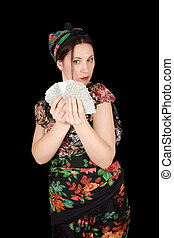 Gypsy woman with fan of cards