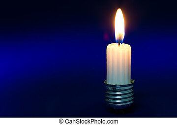 Light bulb fitting with no glass and short candle standing...