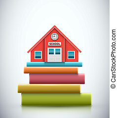 School building on pile of books, eps 10