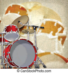 abstract grunge background with drum kit on brown