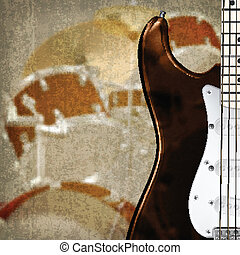abstract grunge background with guitar and drum kit -...