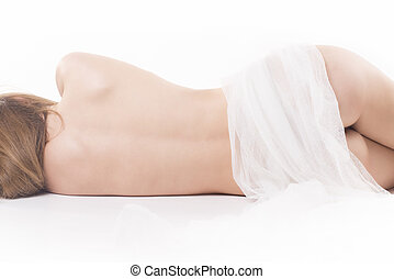 Naked woman sleeping - Isolated naked sleeping woman details...