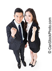 Cheerful business man and woman, full length portrait.