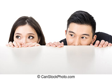 business man and woman hide - Asian business man and woman...