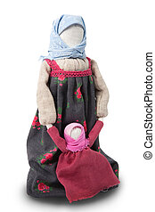 Russian doll - Russian traditional rag doll. Isolated on...