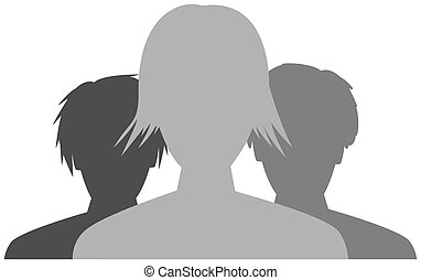 the team - the silhoutte of team consists of three people