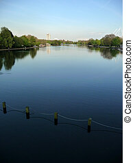 Hyde Park Water - A view of the lake in the Royal park...