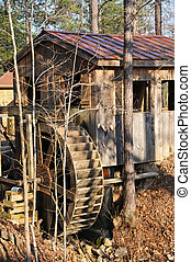Water Mill - A Wooden Old Fashioned Water Mill