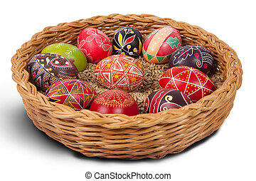 Easter eggs - Hand-drawn Easter eggs in the basket Isolated...