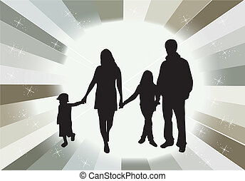 Vector silhouettes of parents with children