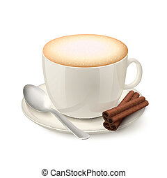 EPS Vector of Coffee cup isolated. Top and side view. espresso ...