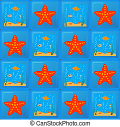 tile pattern with sea and starfish - drawing of marine life...