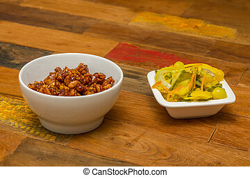 Indonesian tempeh goreng with atjar - Indonesian side dishes...