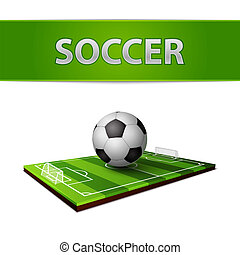 Soccer ball and grass field emblem - Realistic soccer ball...