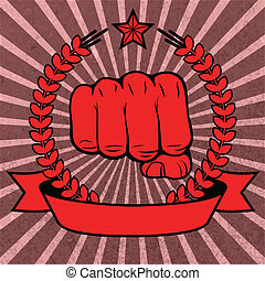 Clenched fist red poster with ribbon vector illustration