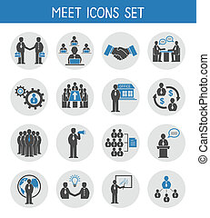 Flat business people meeting icons set of management and...