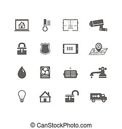 Smart home automation technology icons set of utilities...