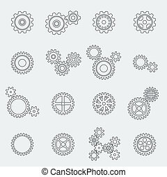 Cogs wheels and gears pictograms set for website design...