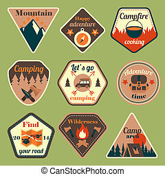 Outdoors tourism camping flat badges set of compass campfire...