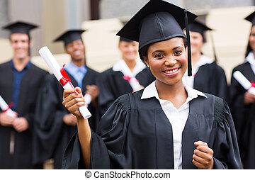 afrikansk, amerikan, kvinnlig, akademiker, ceremoni