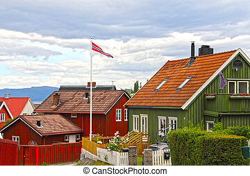 Wooden Trondheim houses - View on old Wooden Trondheim...