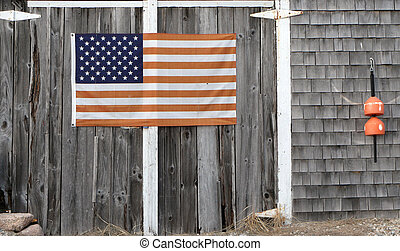 sea side - cape cod flag with door
