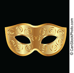 Vintage golden mask vector logo - Vintage festive golden...