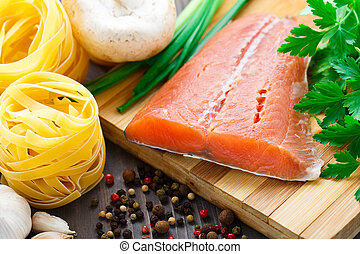 Ingredients for salmon pasta - Ingredients for italian dish...