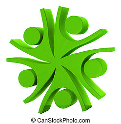 Teamwork company green logo 3D - Happy teamwork company...